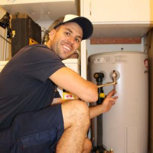 Lionel, one of our Silver Spring water heater repair experts is doing a maintenance check